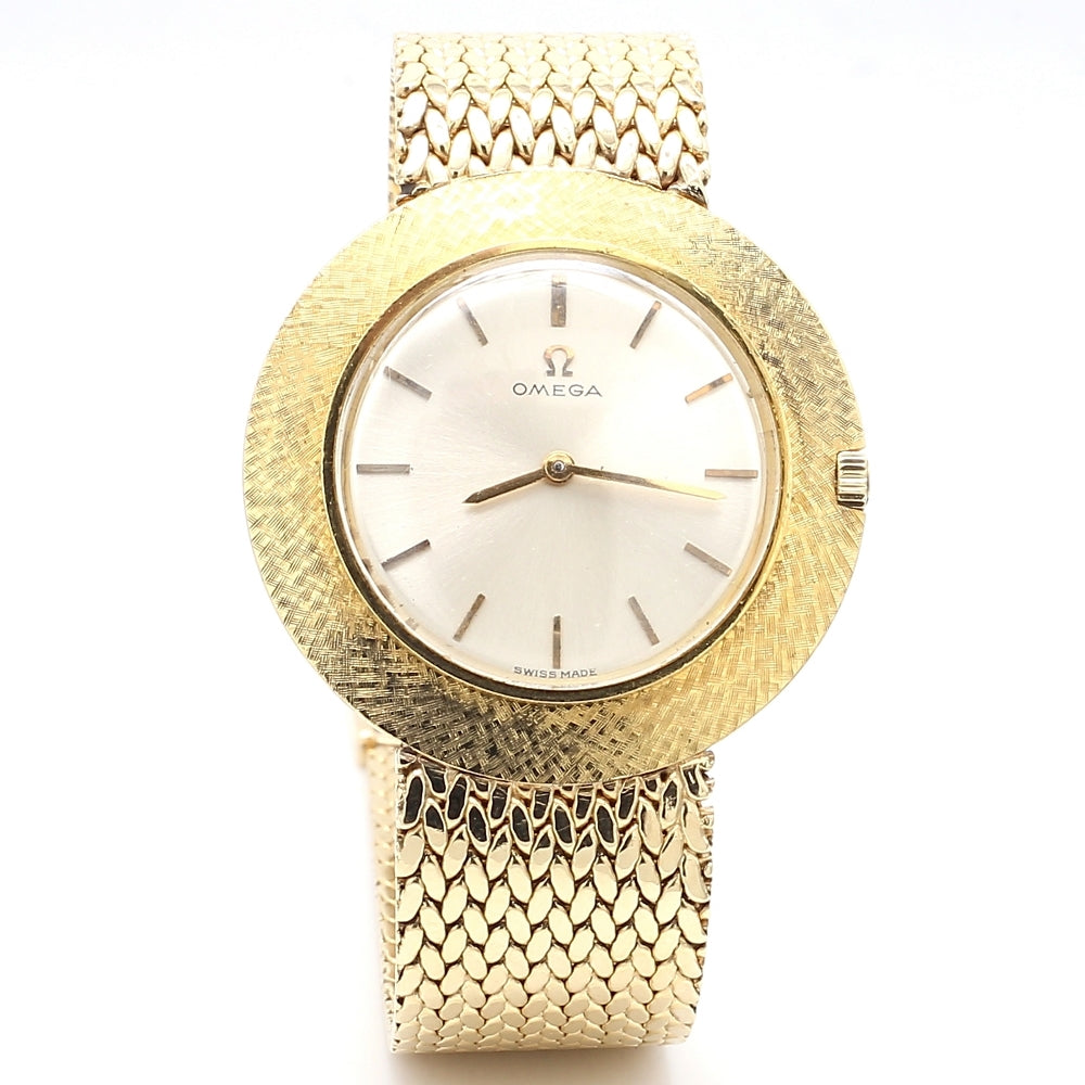 Vintage Omega 14K Yellow Gold Round Case Mesh Bracelet Women's Watch