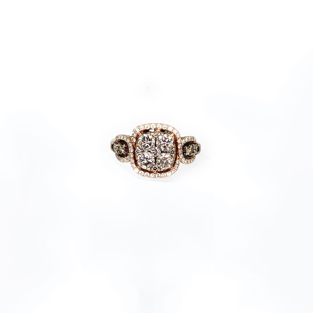 Le Vian Women's 14K Rose Gold 1.00ctw Chocolate Diamond Halo Engagement Ring - Sz. 4.5