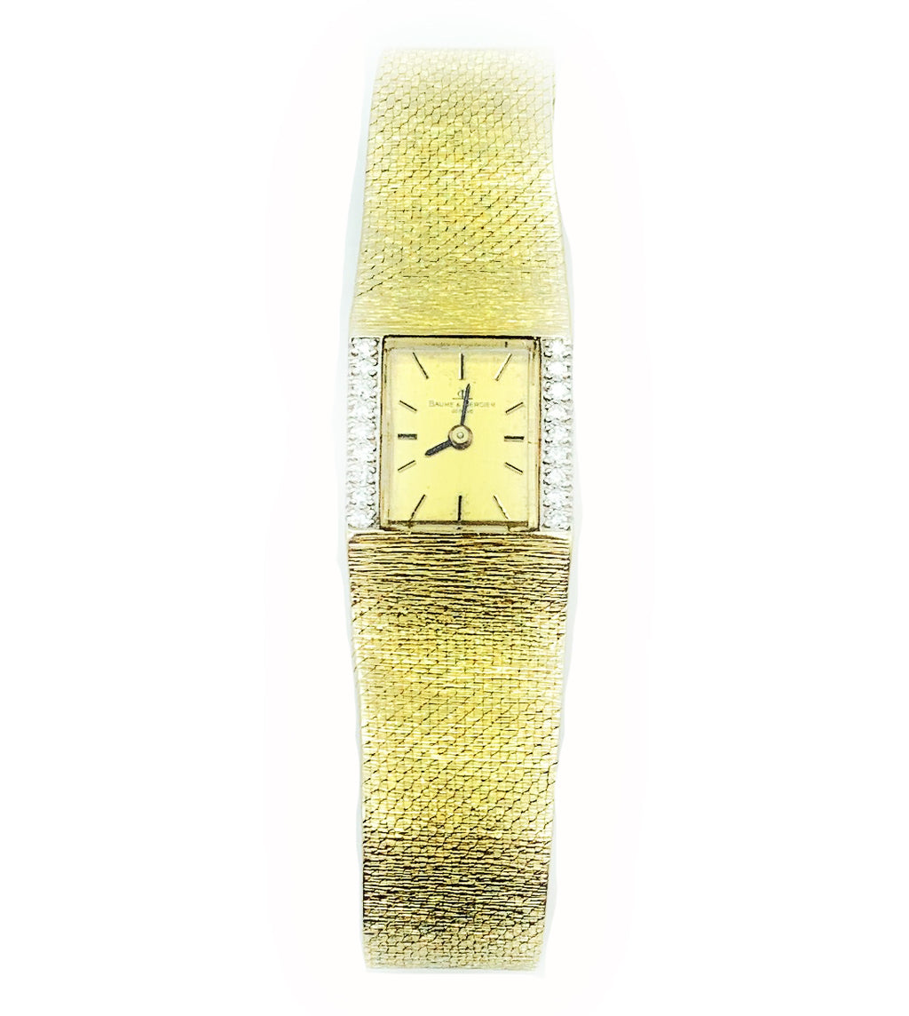 Vintage Baume & Mercier 14k Yellow Gold Diamond Bezel Ladies Cocktail Watch