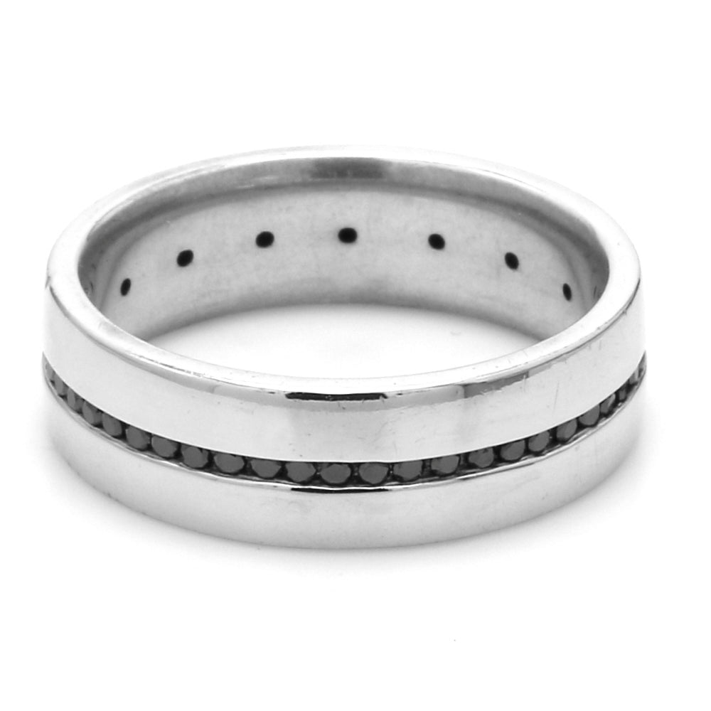14K WG & Sterling Silver 0.50ctw Black Diamond Eternity Men's Wedding Band