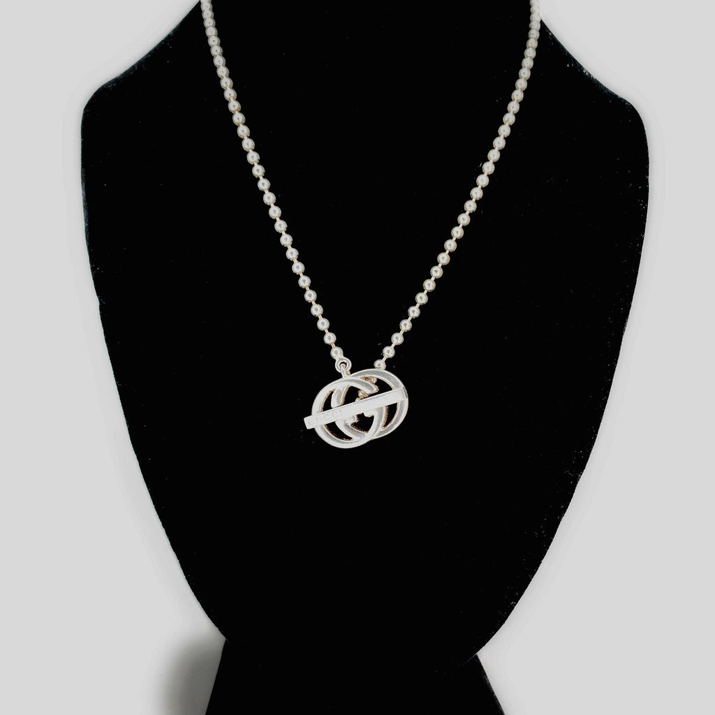 "Gucci ""Britt"" Sterling Silver GG Logo Toggle Necklace"