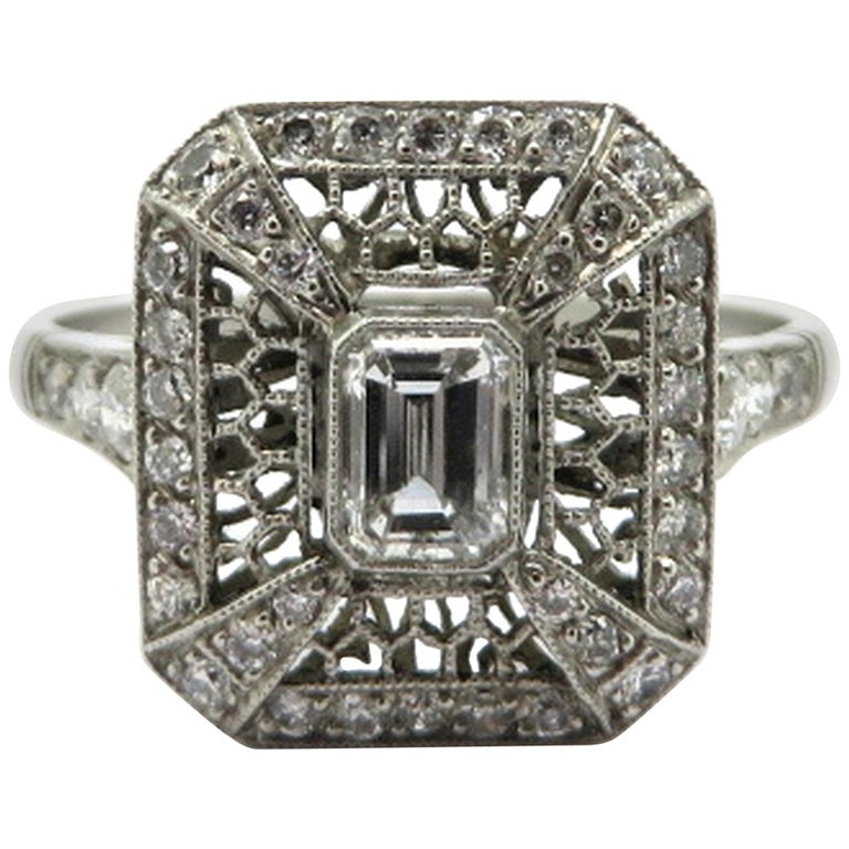 Platinum Art Deco Style Antique Emerald Cut Diamond Engagement Ring