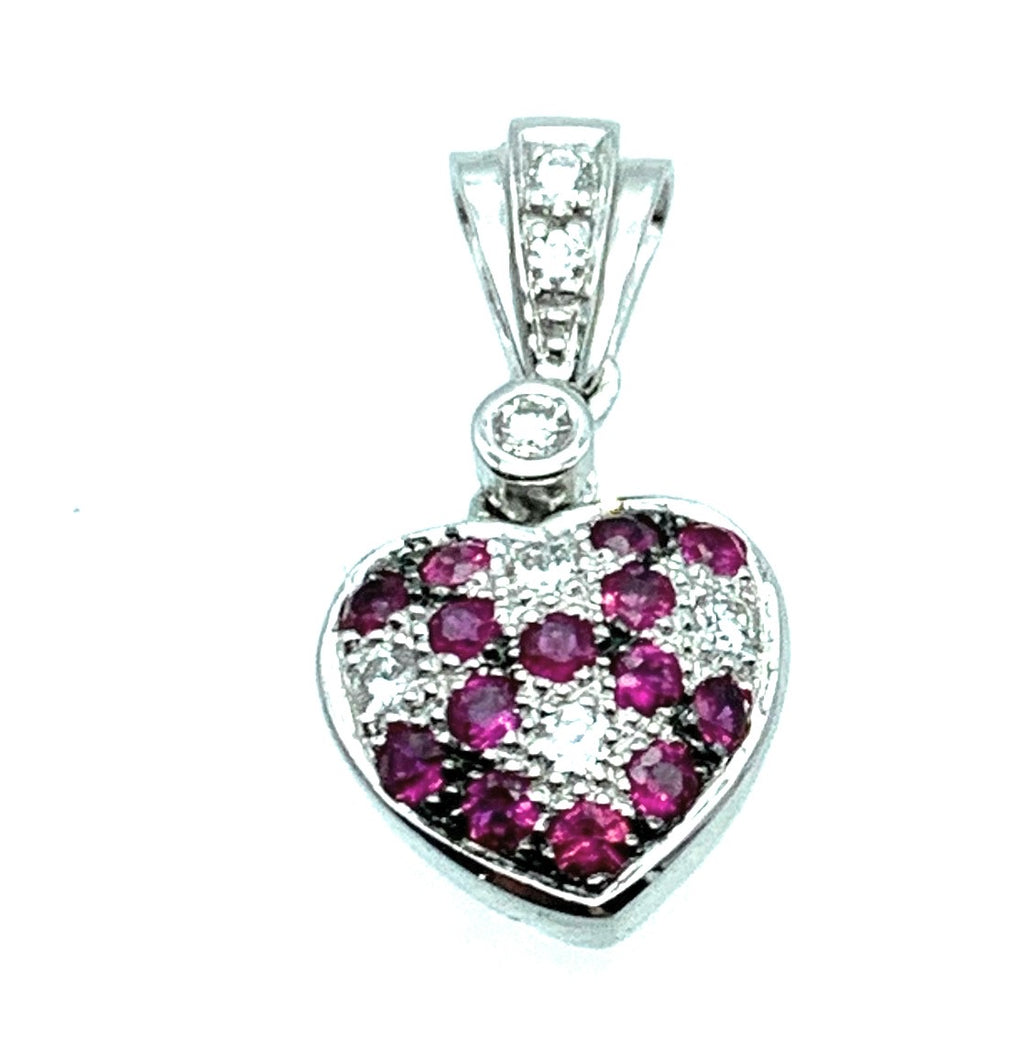 14K White Gold Diamond & Ruby Heart Pendant