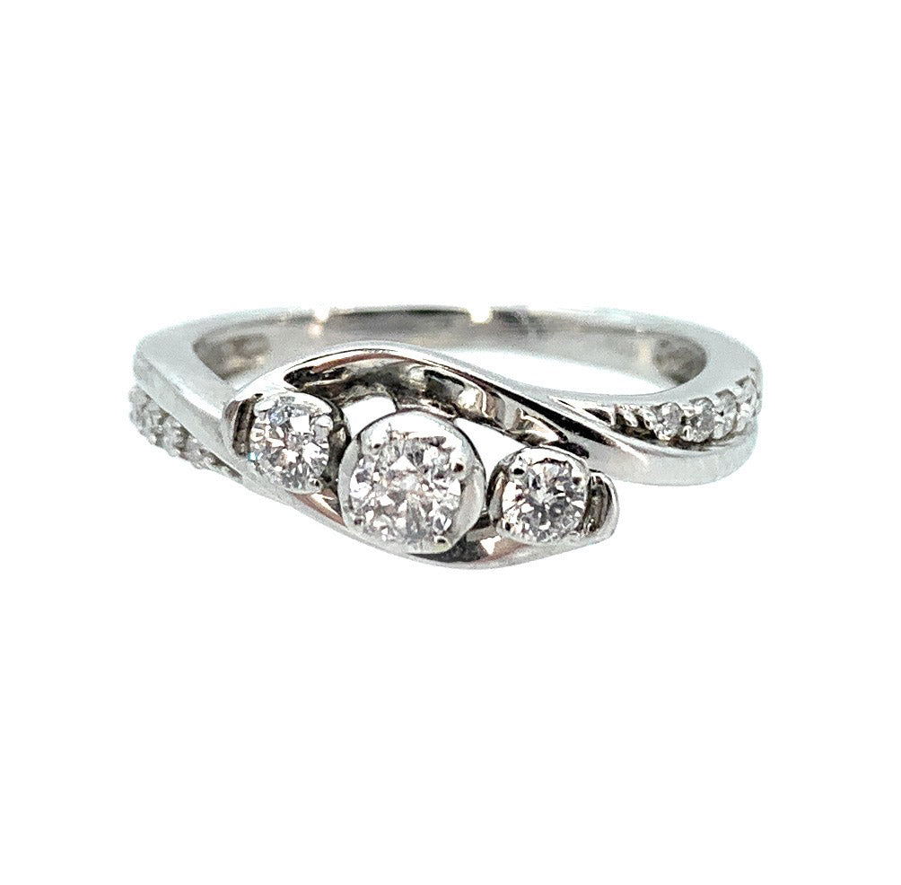 10K White Gold 0.30ctw Diamond Engagement Ring, Size 5.25