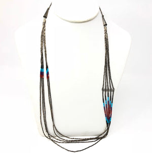 Native American 925 Sterling Silver Turquoise / Coral Bead Necklace