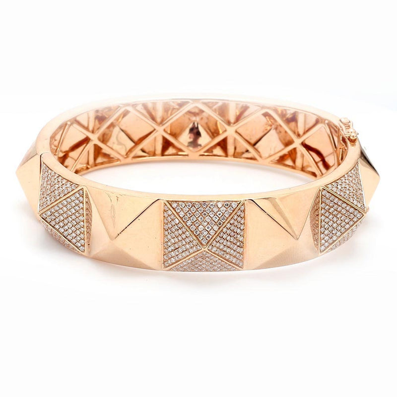 14K Rose Gold & 3.00ctw Diamond Pyramid Hinged Bangle Bracelet