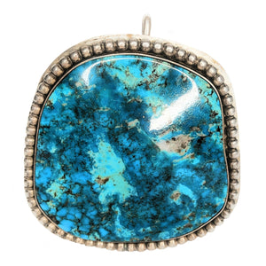 Sterling Silver Large Chrysocolla Gemstone Pendant