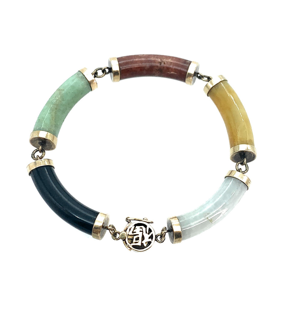 14K Yellow Gold & Multi-Color Jade 5 Station Bracelet