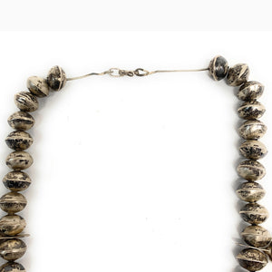 Vintage Old Pawn Navajo Sterling Silver Bead Squash Blossom Necklace