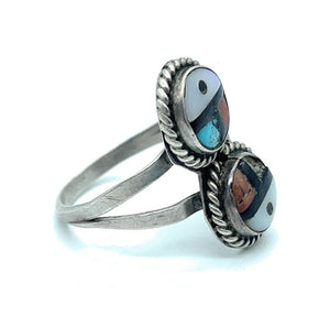 Vintage Zuni Split Shank Sterling Silver & Multi Stone Sun Face Inlay Ring