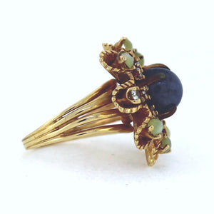 Vintage 14K Yellow Gold Sapphire, Cat Eye, & Diamond Cluster Ring - Sz. 6.5