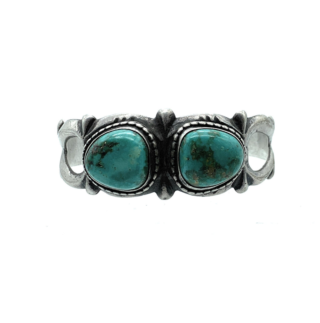 Vintage 1960's Old Pawn Sterling Silver & Turquoise Sandcast Cuff Bracelet