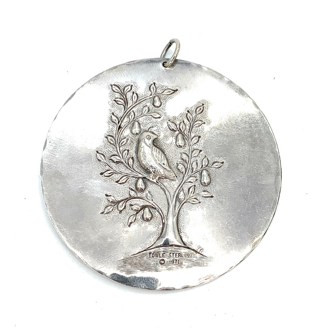 Vintage 1971 Towle Sterling Silver 'Partridge In Pear Tree' Pendant / Ornament
