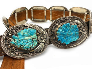 Vintage Old Pawn Navajo Sterling Silver & Hand Carved Turquoise Concho Belt