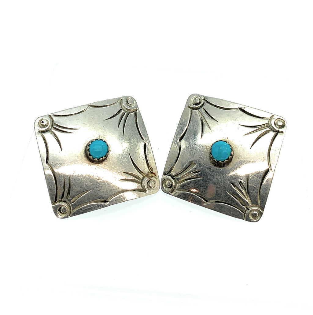 Old Pawn Navajo Sterling Silver & Turquoise Repousse Earrings