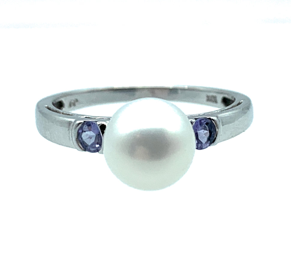 10K White Gold Akoya Pearl & Tanzanite Ring - Sz. 8