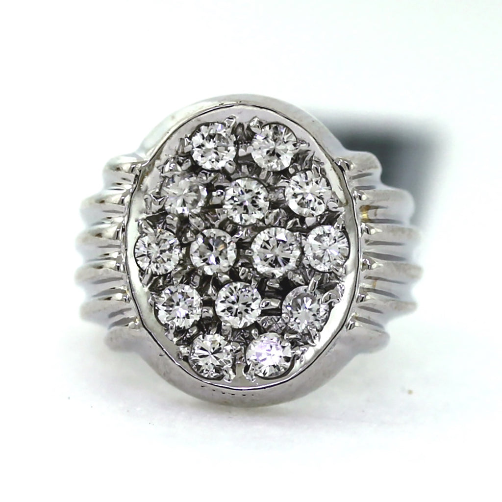 14K White Gold 1.00ctw Diamond Oval Cluster Ring - Sz. 4.5