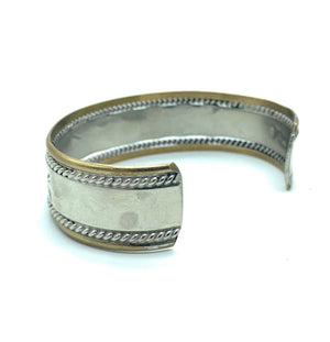 Vintage 1970's Old Pawn Sterling Silver & Brass Wide Cuff Bracelet