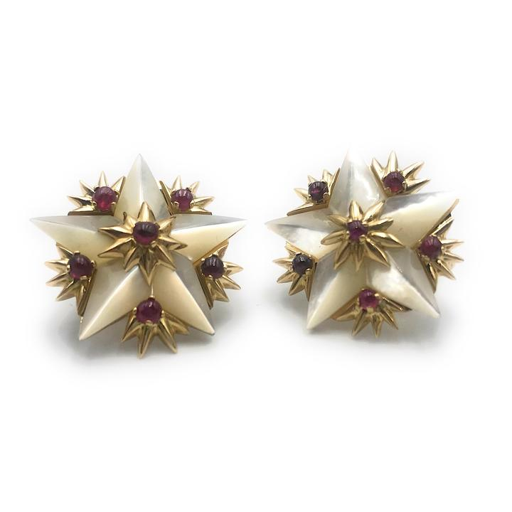 Tiffany & Co. Schlumberger 18K Yellow Gold, Mother Of Pearl and Ruby Star Earrings