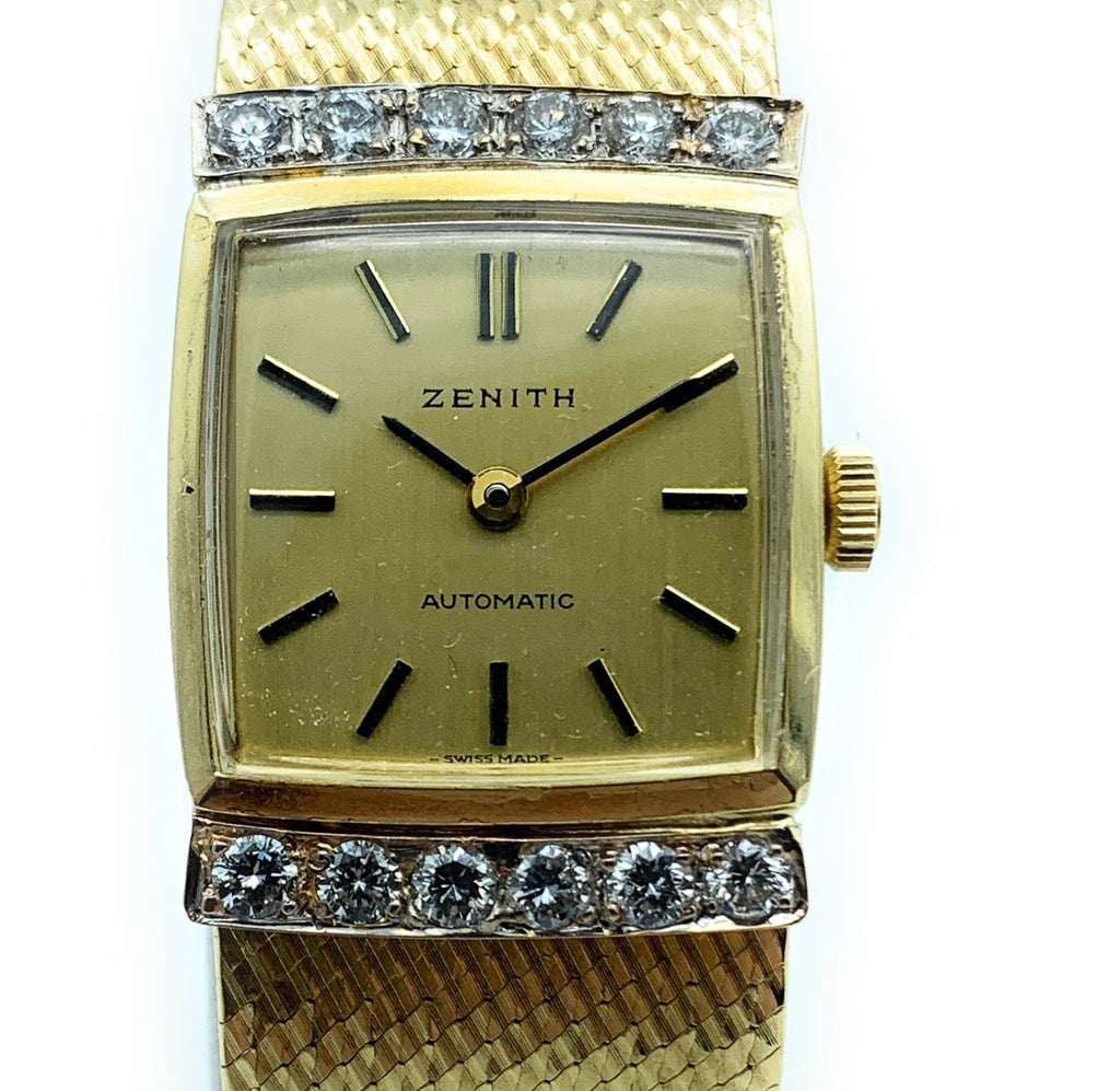 Vintage Zenith 18K Yellow Gold & 0.60ctw Diamond Ladies Watch