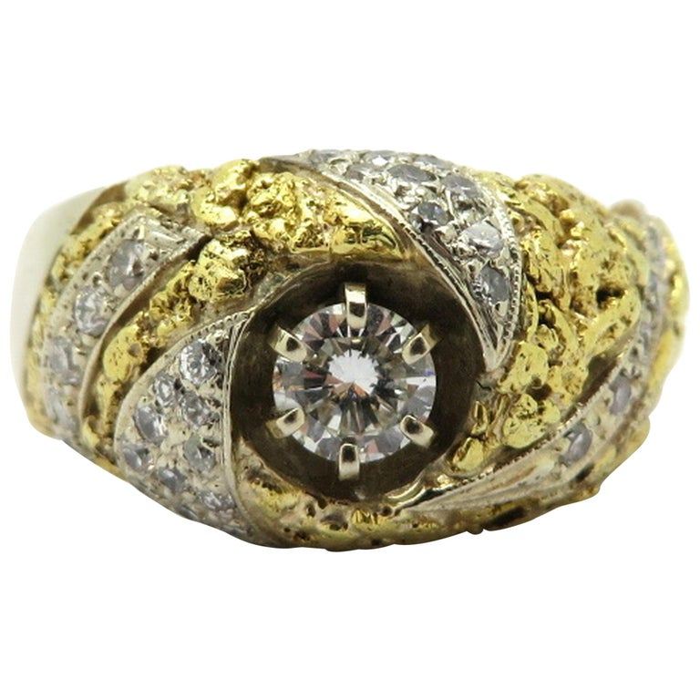 14K and 22 Karat Two-Tone Men's Diamond Gold Nugget Style Fashion Ring