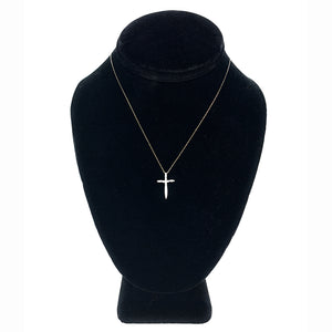 Vintage 14K White Gold & Diamond Cross Pendant Necklace