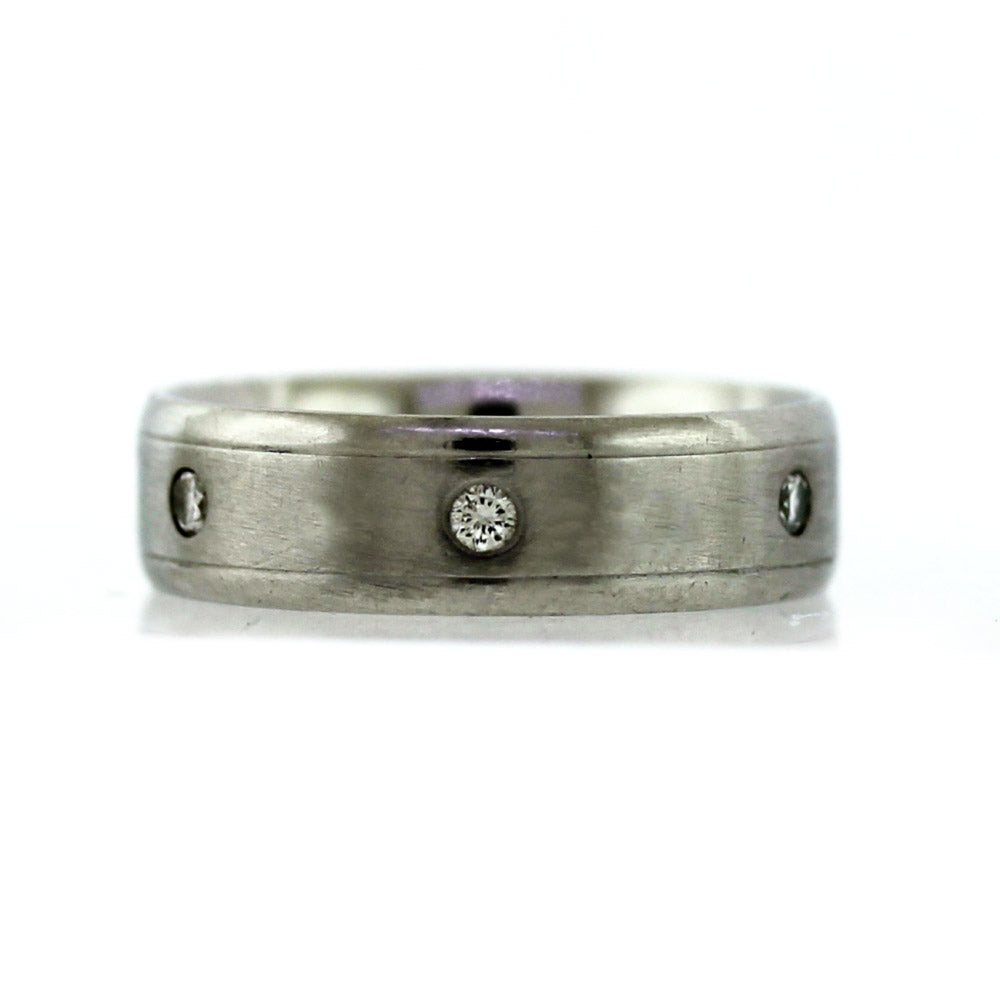 Platinum 0.30ctw Diamond Men's 6mm Wedding Band - Sz. 8.75
