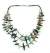 Vintage Zuni 1970's Heishi Carved Bird Fetish 3-Strand Necklace