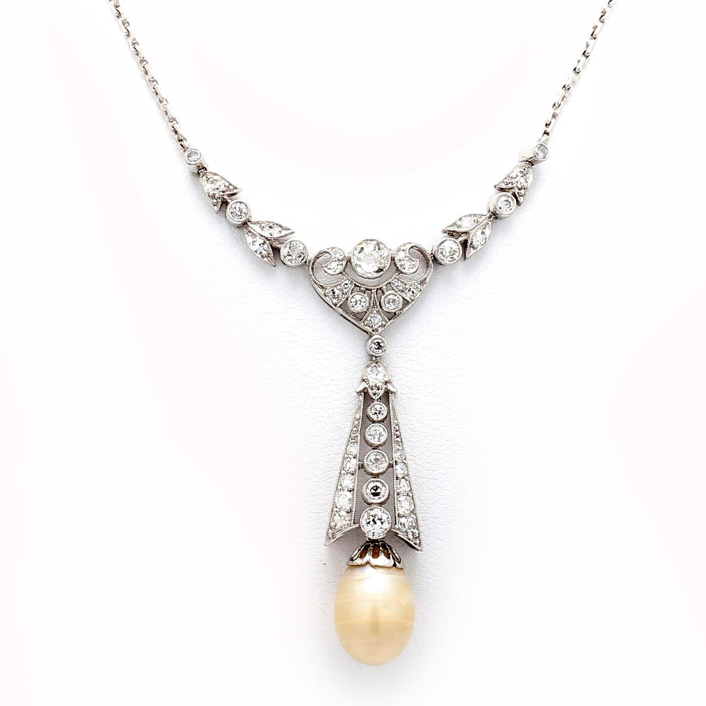 Art Deco Platinum & 14K White Gold Diamond and Pearl Drop Necklace