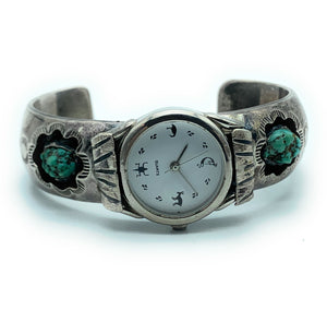 Vintage Old Pawn Navajo Sterling Silver & Turquoise Watch Cuff Bracelet