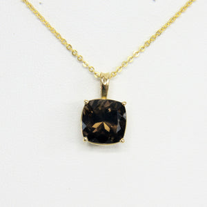 Milros Italy 14k Yellow Gold Smokey Topaz Pendant Necklace