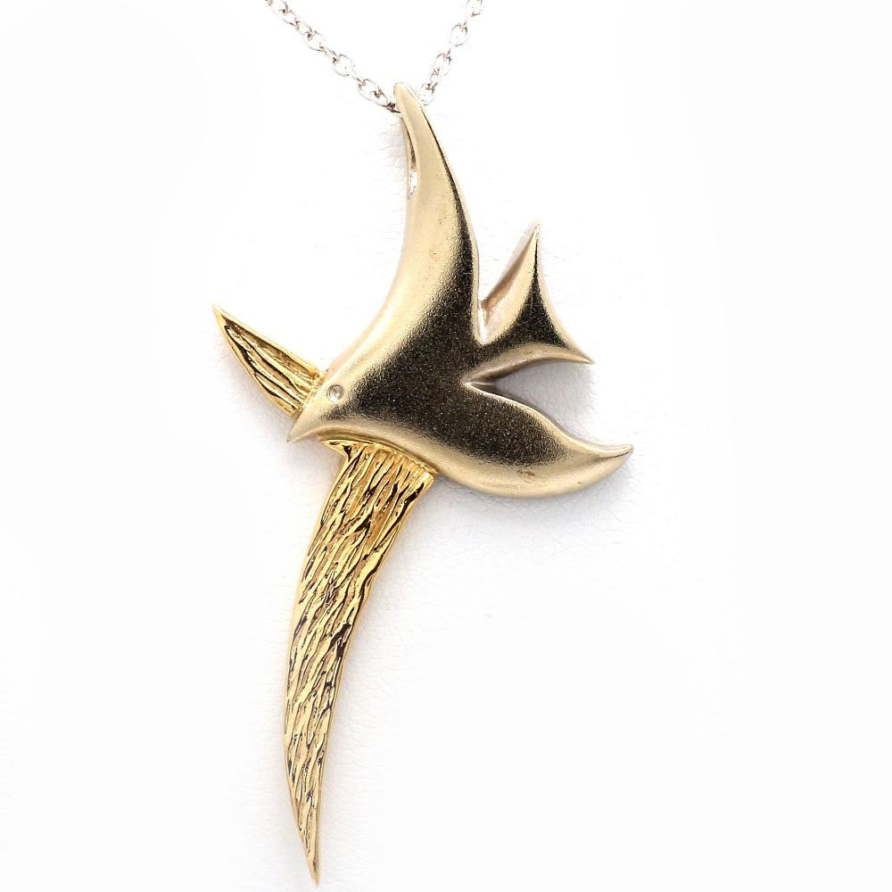 18K Two-Tone Gold Dove Flying w Branch Pendant Necklace