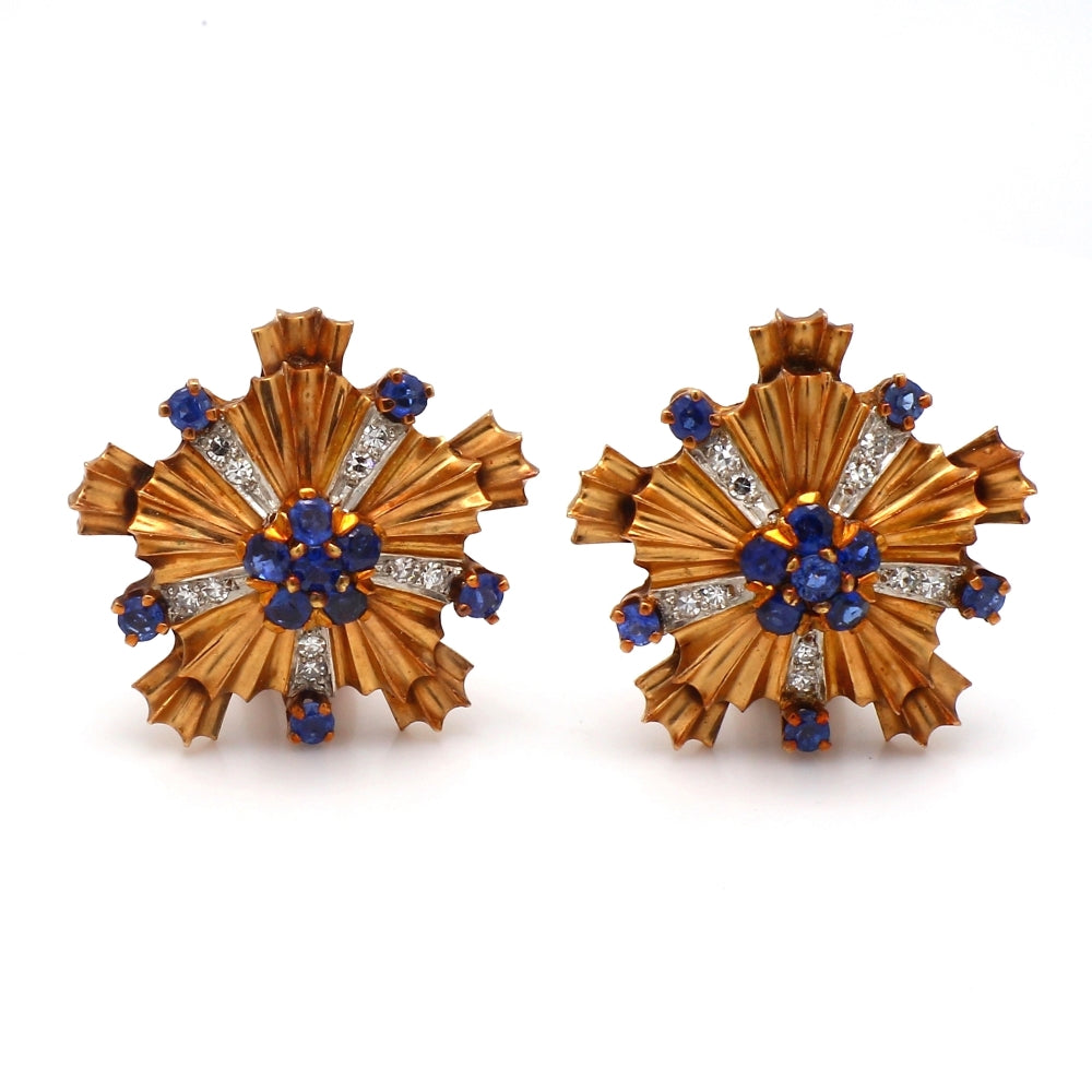 Vintage Tiffany & Co. 14K Yellow Gold, Sapphire & Diamond Floral Earrings