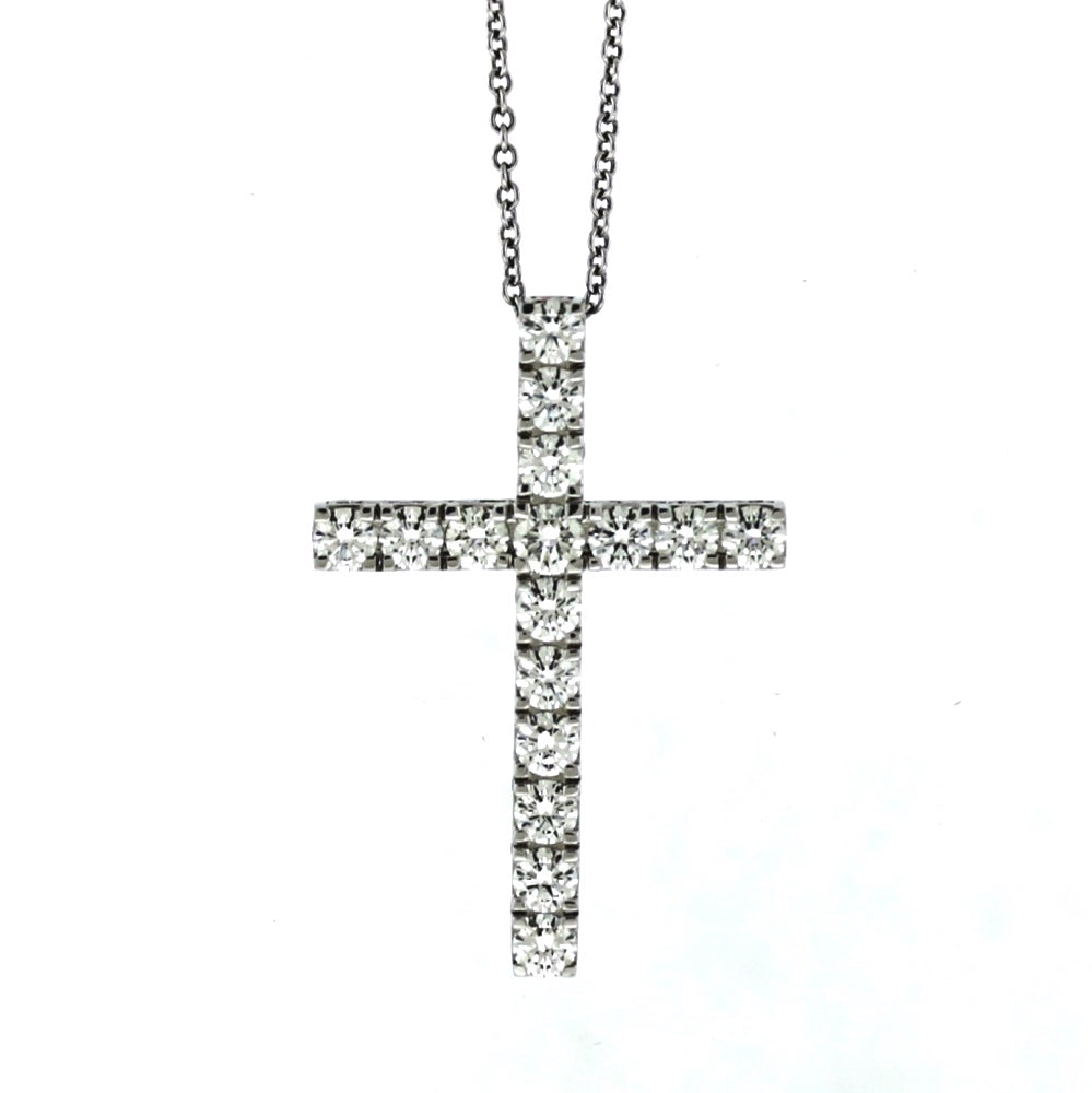 18K White Gold 2.09ctw Diamond Crucifix Pendant and Necklace