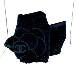 Chanel Camellia Limited Edition Black Terry Cloth Beach Tote & Towel Set