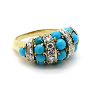 Tiffany and Co. Persian Turquoise 18K Yellow Gold Diamond Ring, Sz 6