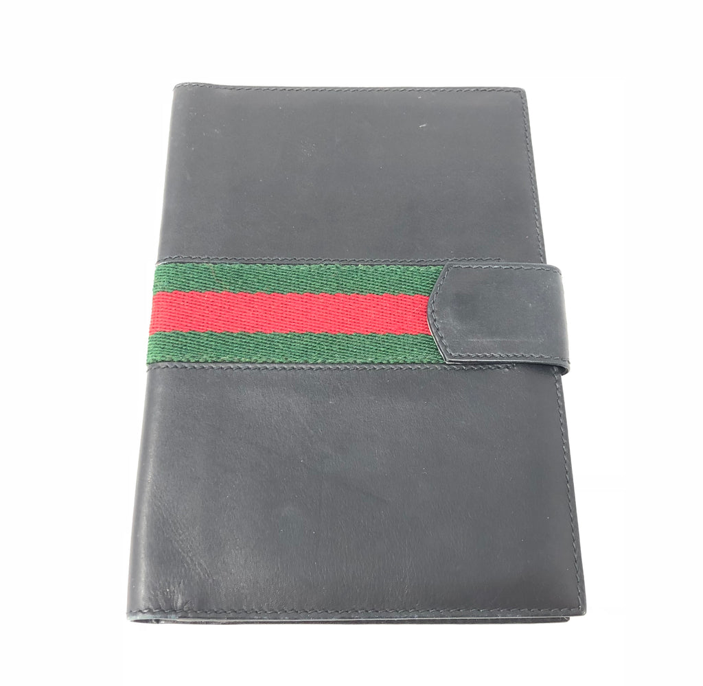 Vintage Gucci Black Leather Green Red Web Book Cover Wallet
