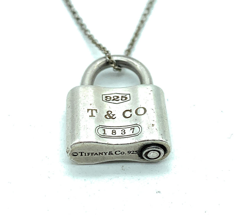 RARE! Tiffany & Co. Sterling Silver 1837 Padlock Pendant Necklace