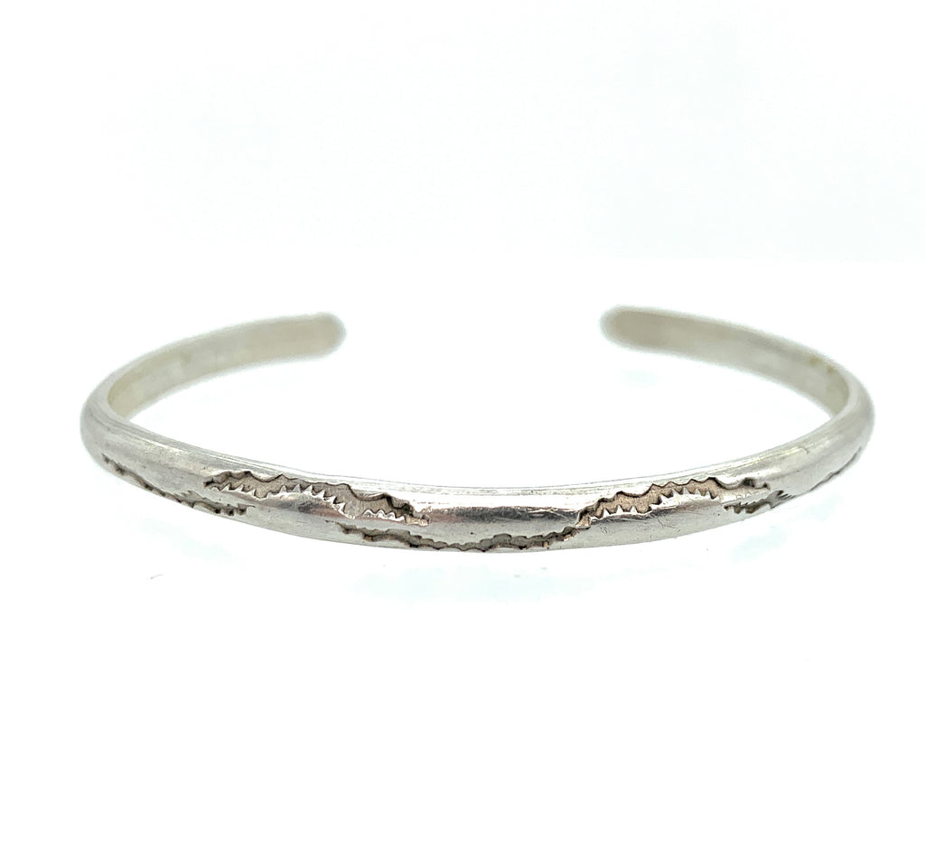 Vintage Old Pawn Sterling Silver Thin Engraved Cuff Bracelet