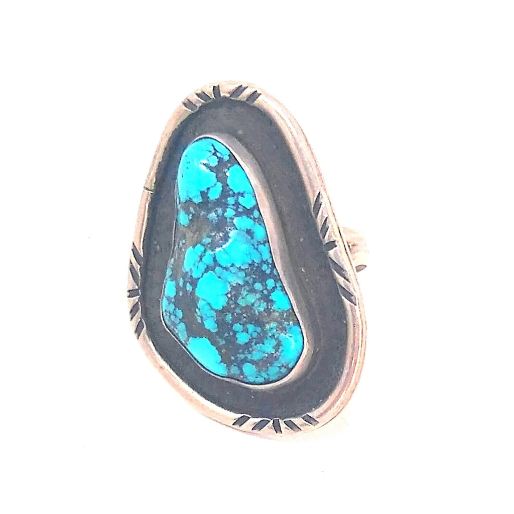Artistically Shaped Kingman Turquoise Ring SZ 6 Ring