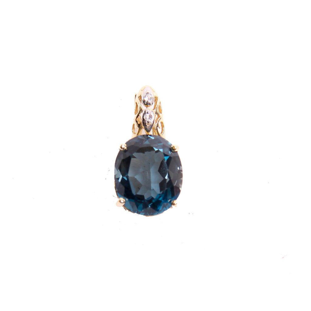 14kt Yellow Gold Blue Topaz Small Diamond Pendant