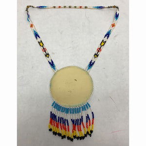Vintage Navajo Hand Beaded Phoenix Round Medallion Necklace