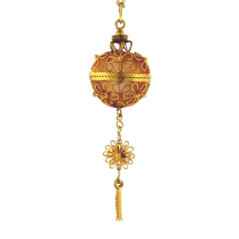 21K Yellow Gold Pomander Perfume Ball Floral Design Necklace Pendant