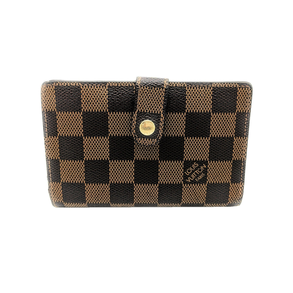 Louis Vuitton Damier Ebene Pattern Leather French Purse Wallet