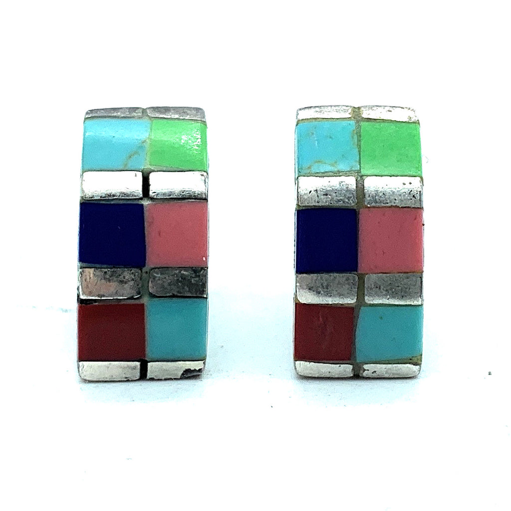 Vintage 1960's Zuni Sterling Silver Multi Stone Inlay Post Earrings