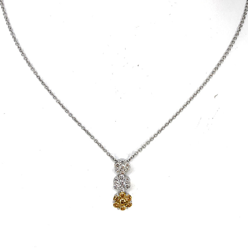 GORGEOUS 18K White Gold Necklace w/ Radiant Fancy Yellow Diamond Floating Pendant