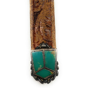 Vintage 1970's Zuni Tooled Leather Taper Belt w/ Turquoise Inlay Buckle & Tip