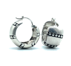 Vintage Sterling Silver Wide Huggie Hoop Earrings
