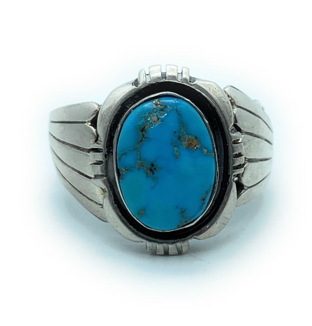 Vintage Old pawn Navajo Men's Heavy Gauge Sterling Silver & Turquoise Ring