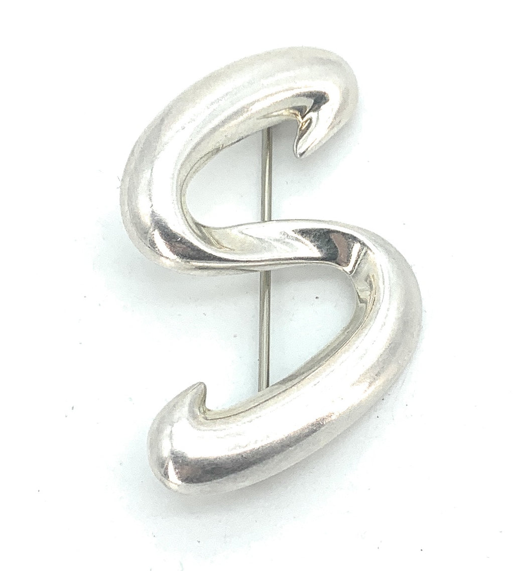 Vintage CNA 925 Sterling Silver Letter 'S' Initial Pin Brooch